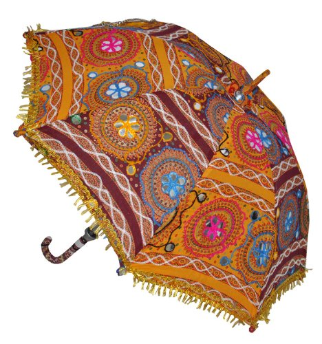 Indian Handmade Designer Cotton Fashion Multi Colored Umbrella Embroidery Boho Umbrellas Parasol 50 Pcs Lot by Rajasthali (Image #3)