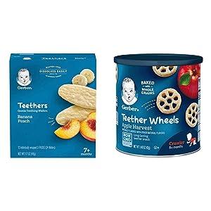 Gerber Teethers Gentle Teething Wafers - Banana Peach, 6 Count & Teether Wheels, Apple Harvest, 1.48 Ounce (Pack of 6)