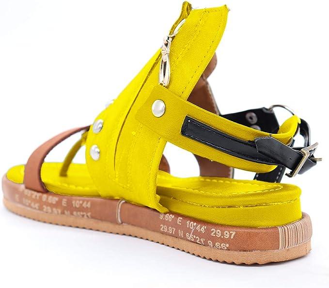 Rome Sandales Femmes Plates,Yesmile Mode Femme Tongs Compens/ées Sandales Chaussures /à Plateforme En Cuir Artificiel