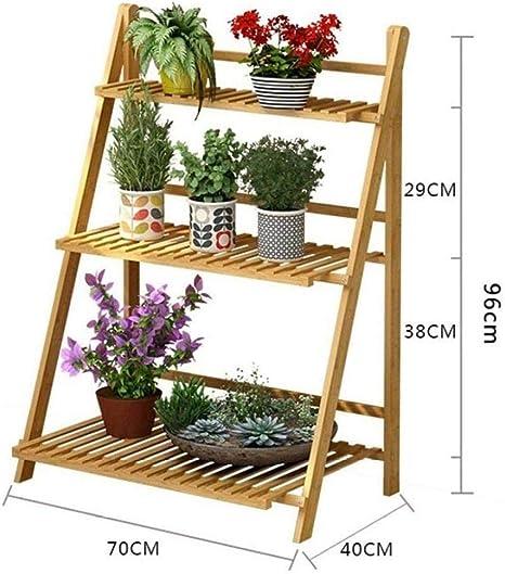ANXWA Estantería De Macetas Estante Maceta De Plantas Soporte Decorativo para Jardín con 3 Niveles Escalera Madera Estantería para Plantas Soporte,70x40x96cm: Amazon.es: Hogar
