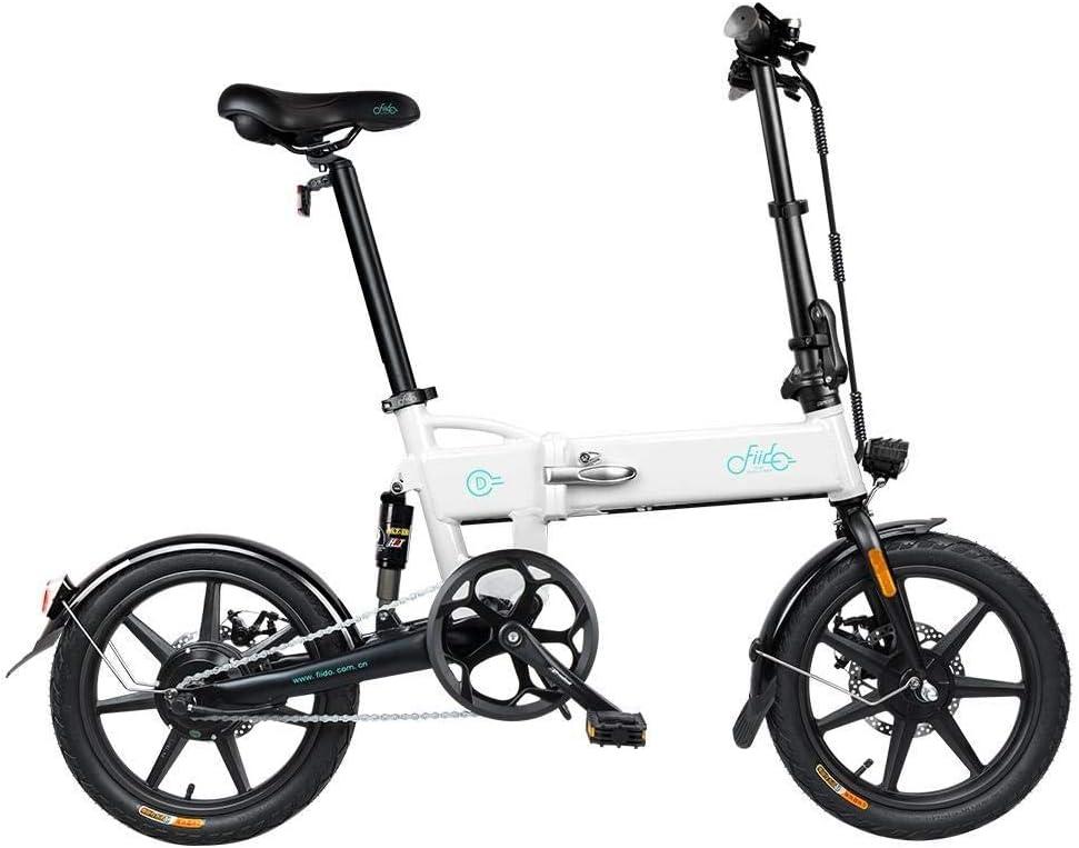 Bicicleta eléctrica FIIDO D2 de 16 pulgadas, bicicleta eléctrica asistida por pedal plegable de 36V 250W, con batería de iones de litio de 7.8Ah, pantalla LED Bicicleta ligera para adultos (blanco): Amazon.es: