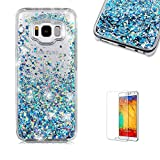 For Galaxy S8 Case,Samsung Galaxy S8 Glitter Case,Funyye 3D Creative Floating Water Liquid Small Love Hearts Design Luxury Sparkly Bling Glitter Back Hard Shell Protective Case Cover With Soft TPU Bumper Samsung Galaxy S8-Blue