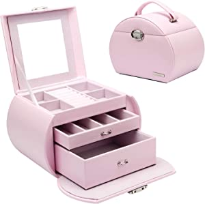 Homde Girls Jewelry Box Pink Storage Case Organizer Faux Leather with Mirror