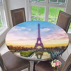 PINAFORE HOME Round Fitted Tablecloth Eiffel Tower at Sunset in Paris France Romantic Travel Background for All Occasions 50-55 Round (Elastic Edge)