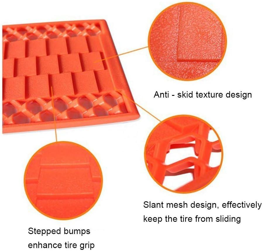 LanXi/®2 Pcs Car Tracks Mud Snow Traction Grip Sand Tyre Wheel Ice Van Heavy Duty Emergency Car Wheel Grip Track Rescue Boards with Deep Plastic Honeycomb Cleats for Maximum Vehicle Tyre Grip Orange