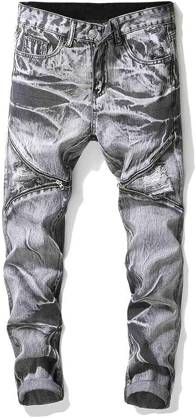 Pantalones Vaqueros Dujie para Hombre, con Pliegues, Corte ...