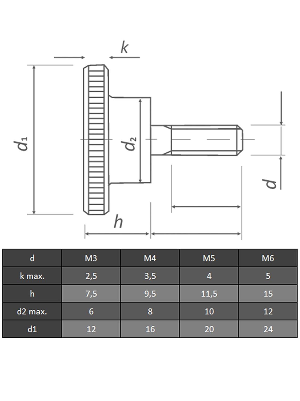 OPIOL QUALITY   R/ändelschraube Daumenschrauben R/ändelschrauben M6 X 16 hohe Form DIN 464 Edelstahl A1 4 St/ück