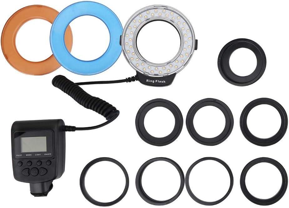 Kit danneaux adaptateurs dobjectif de lumi/ère Flash annulaire Portable 48 LED pour Canon pour Nikon pour Appareil Photo Reflex Fuji Ladieshow Kit de lumi/ère Flash