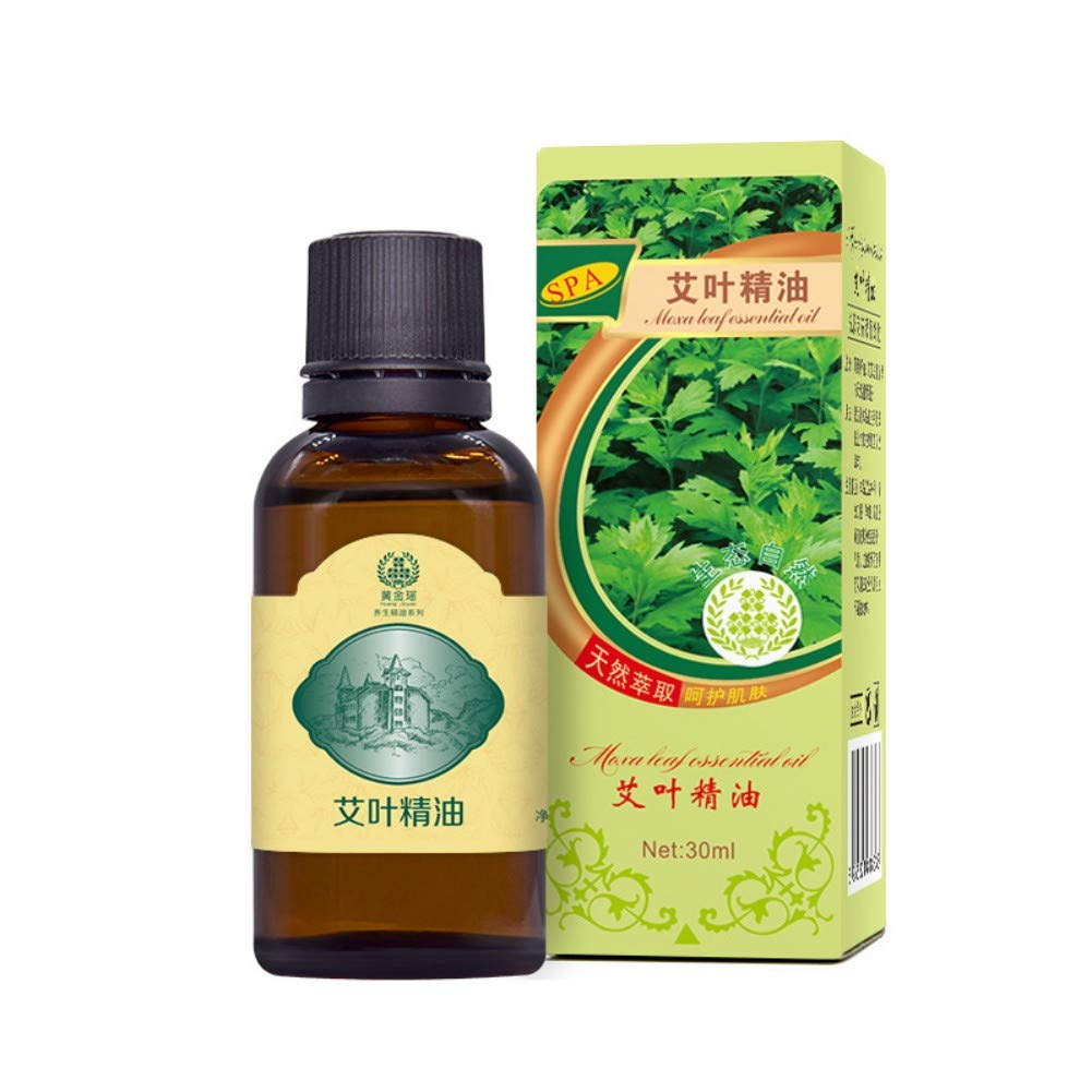 Zhengpin 30ML Lymphatic Drainage Ginger Essential Oils, 100% PURE Natural Plants Ginger/Rose / Lavender/Ai Ye/Olive Therapeutic Grade Massage Oil (Ai Ye)