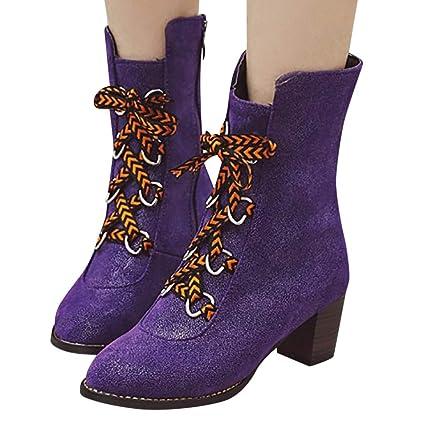 Luckycat Denim Zapatos Mujer Botines Mujer Tacon Medio ...