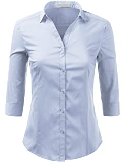 9d8fe231c63 H2H Women Casual Slim Fit Button Down Dress Shirts 3 4 Sleeve Formal ...
