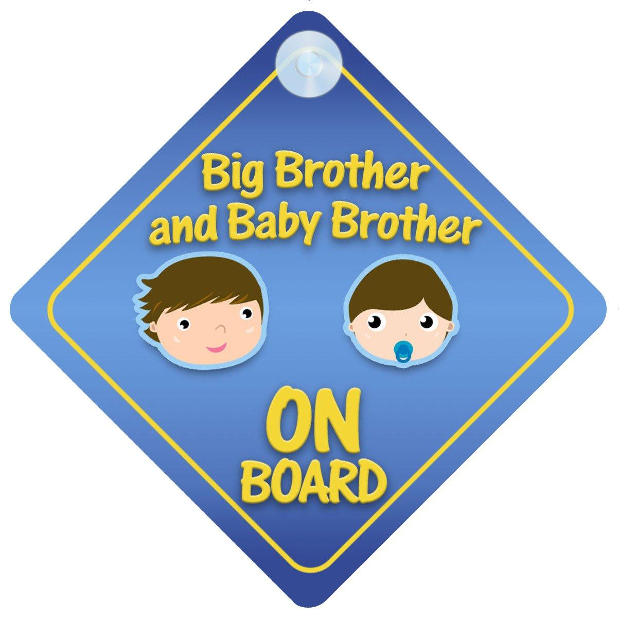 Brothers Car Sign Like Baby//Child On Board BigBro Blue