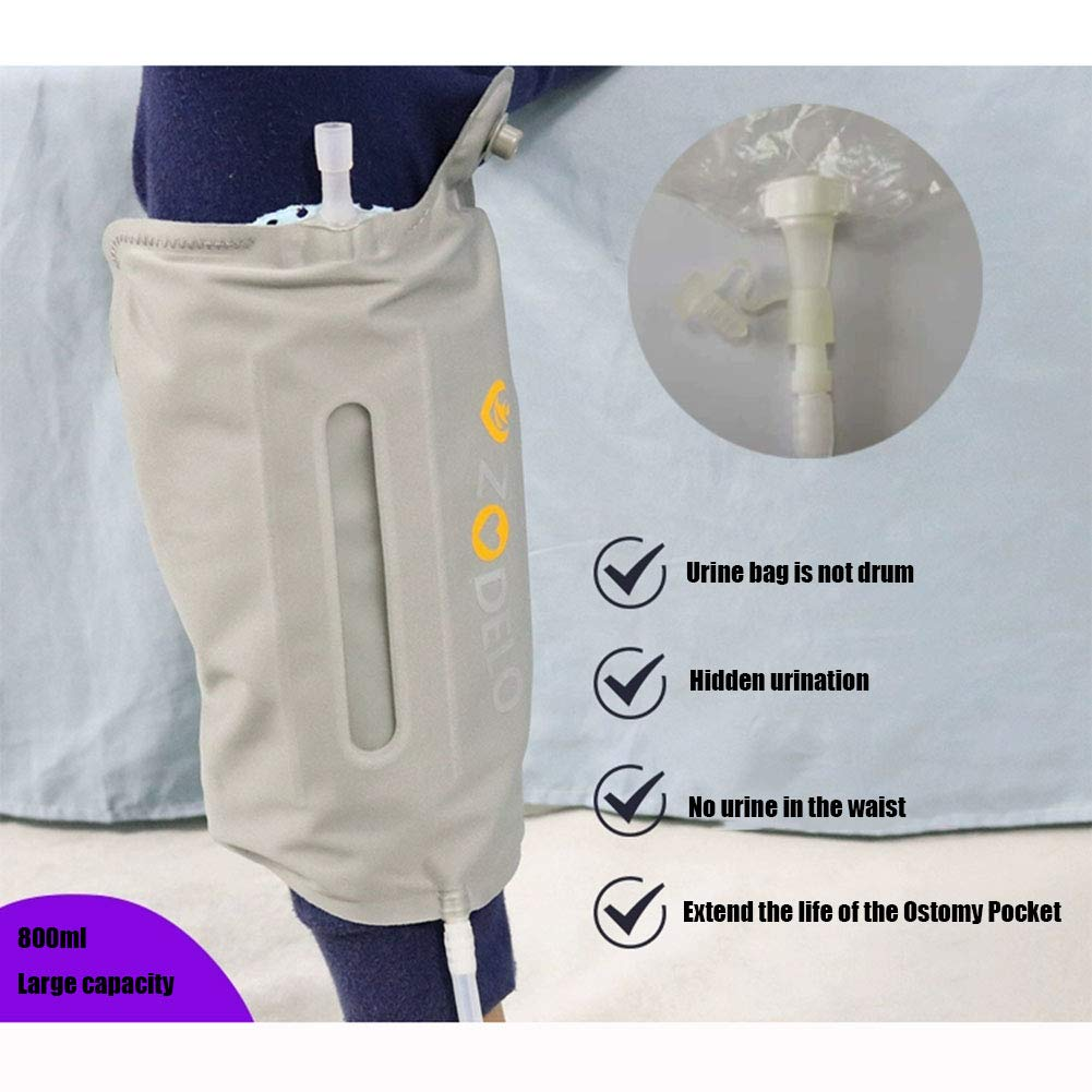 Urine Storage Bag,Reusable Portable Close fit Comfort Spill Proof Collection Bag,800ml,Gray (Can be Connected to Pasted Ostomy Pocket)