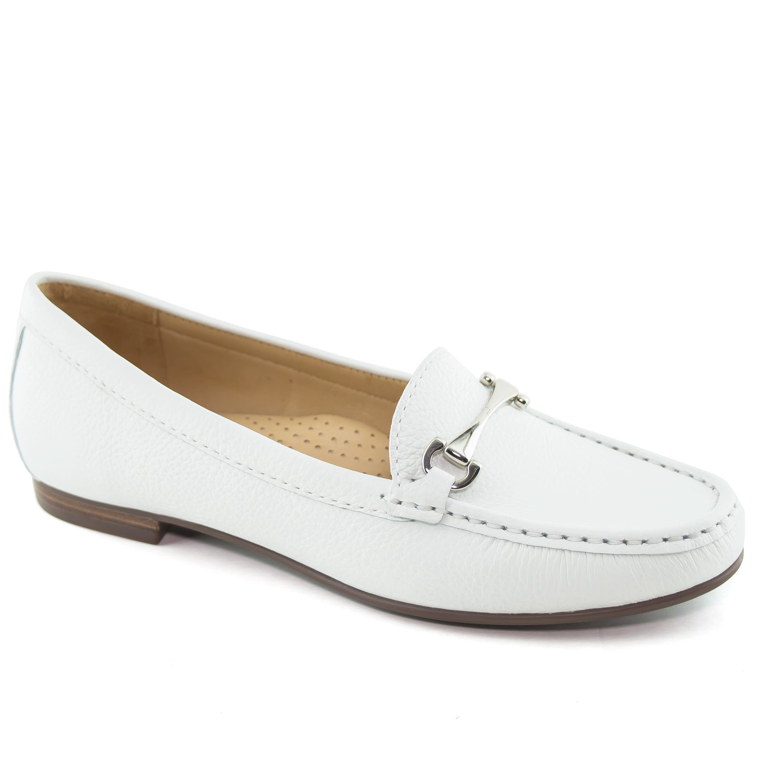 Driver Club USA Women's Fashion Shoes Grand 2 White Grainy Buckle Loafer 8 (More Size/Colors Available)