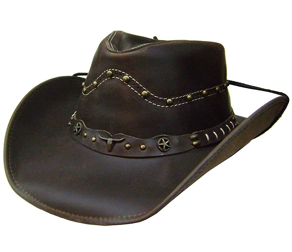 Modestone Unisex Leather Cowboy Hat Studs Conchos Brown VA1889