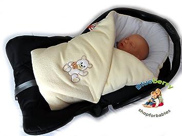 BlueberryShop Cosy Fleece Car Seat Swaddle Wrap Blanket For Newborn Baby White