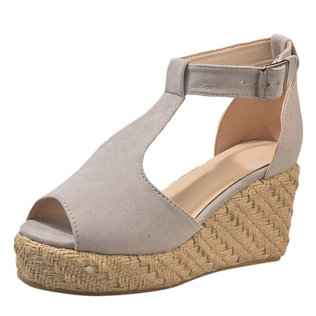 Qingell Women's Chic Espadrille Wedges Perforated Open Toe Ankle Buckle Cutout Platform Dress Sandals Gray
