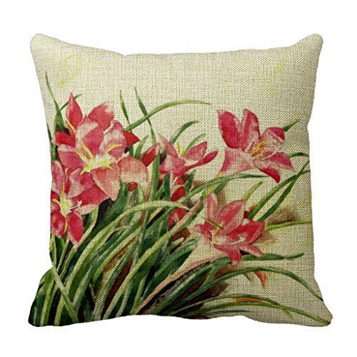 Cateyes Pink Lilies and Butterflies Cotton Linen Throw Pillow Covers(18 x - Com Cateye Www