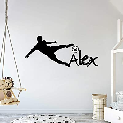 "Custom Name - Soccer Player Boy Girl Mural - Baby's Mural Room Vinyl World Cup Wall Decal (Wide 40"" x 20"" Height): Baby"