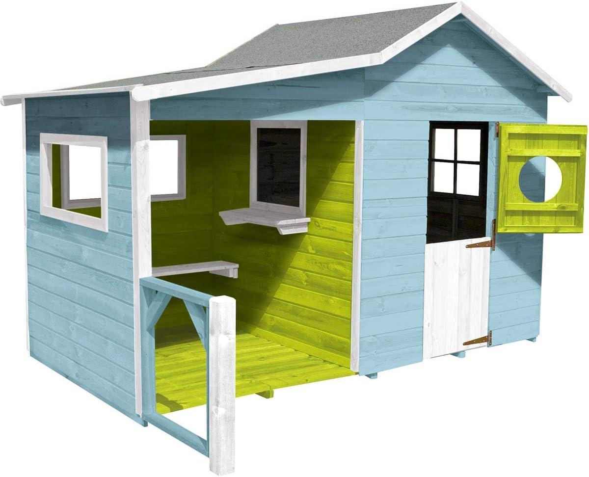 Soulet - Caseta premontada de madera tratada para niños con predio y suelo – Hacienda