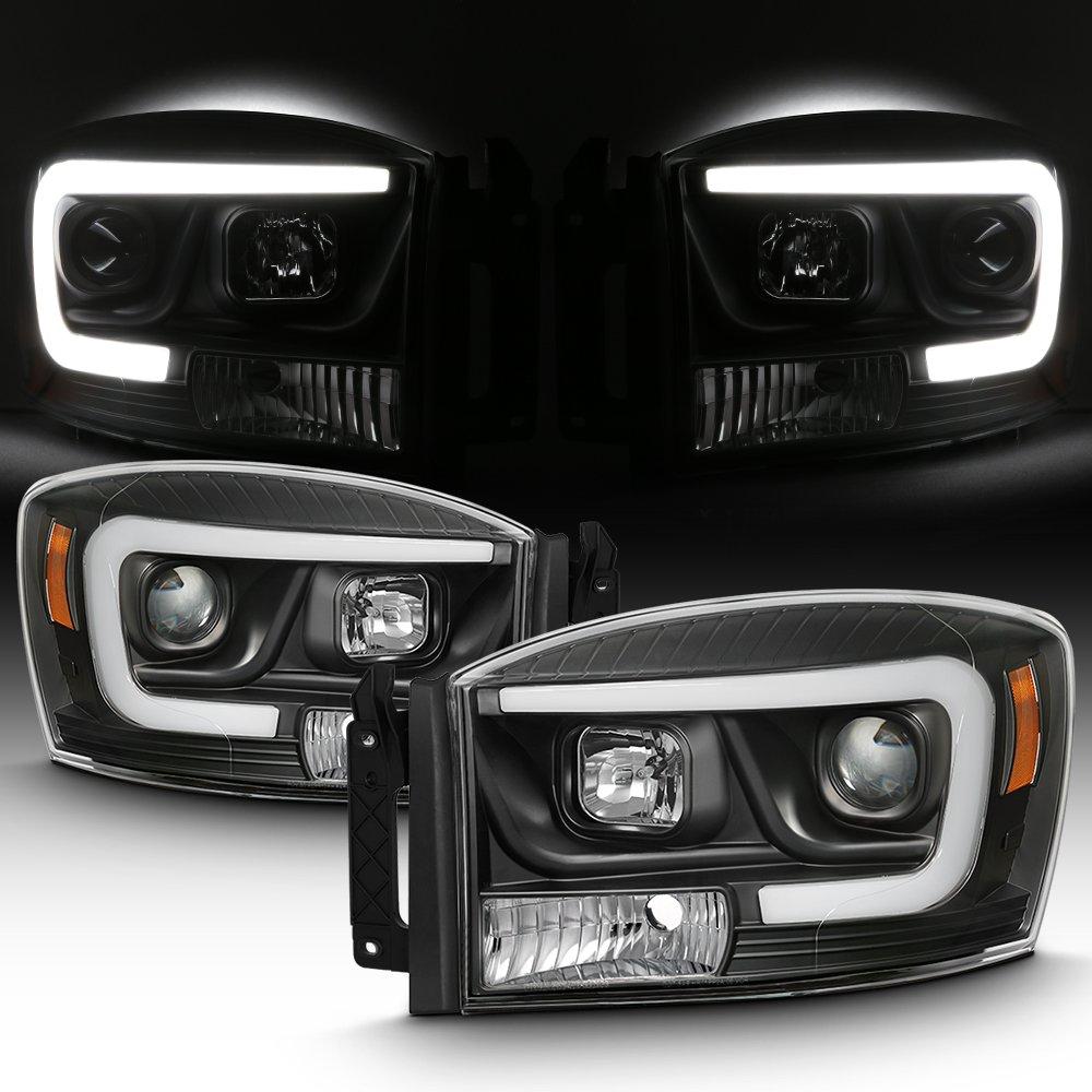 For 2006-2008 Dodge RAM 1500 /& 06-09 Dodge RAM 2500//3500 LED Daytime Running Lamp Bar Projector Headlights Black Combo