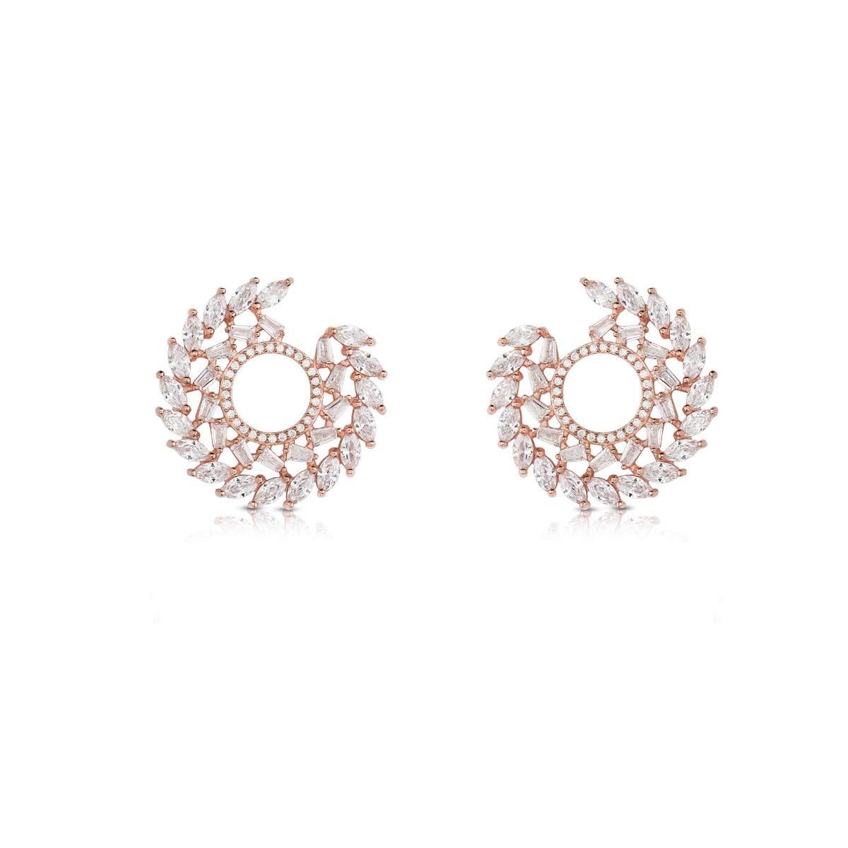 Izaara 92.5 Premium Sterling Silver Rose Polish Earring Studded with Cubic Zirconia