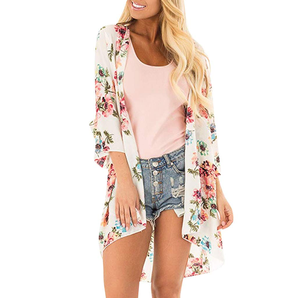 F_topbu Womens Cardigans 3/4 Sleeve Floral Print Chiffon Beach Kimono Cardigan Blouse Shawl Loose Top Outwear White