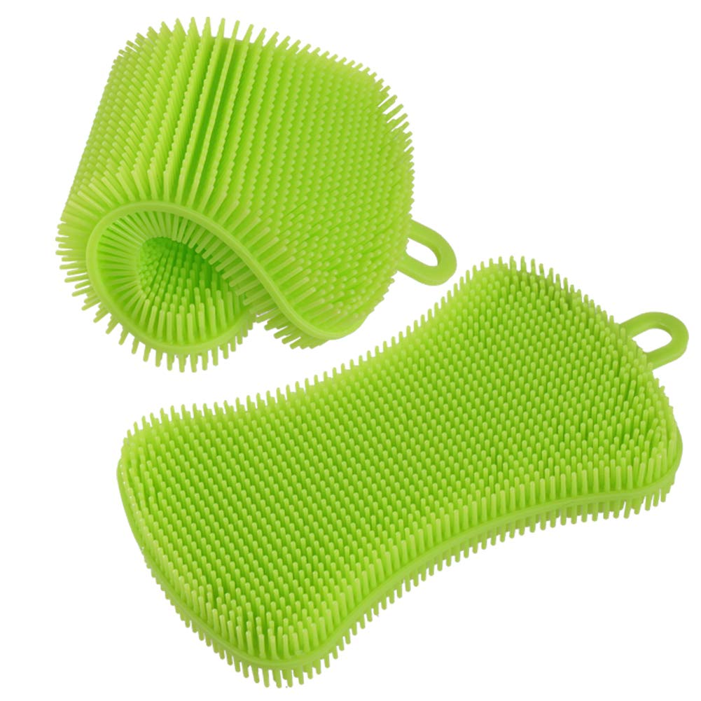 heyfitシリコンスポンジwith DurableグリルパンScraperプラスチックキッチンクリーニングツールセットキットforキッチン Silicone Sponge グリーン KTP-0001 B077N6KL6Q  Silicone Sponge