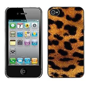 TopCaseStore / la caja del caucho duro de la cubierta de protección de la piel - Fur Golden Brown Spots Pattern - Apple iPhone 4 / 4S