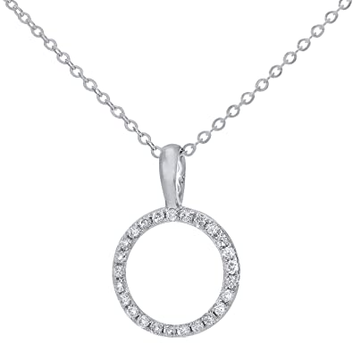 Naava Women's Pave Set Diamond Drop Pendant and 9 ct White Gold Chain Necklace of 46 cm Vuv3any