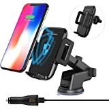 AQQEF Wireless Car Charger, QI Adjustable Fast Wireless Charger Mount for iPhone X iPhone 8/8 Plus, Samsung Galaxy S9/S9 Plus Note8 S8/S8 Plus S7 S7 Edge and other Qi-enabled Devices (Black)