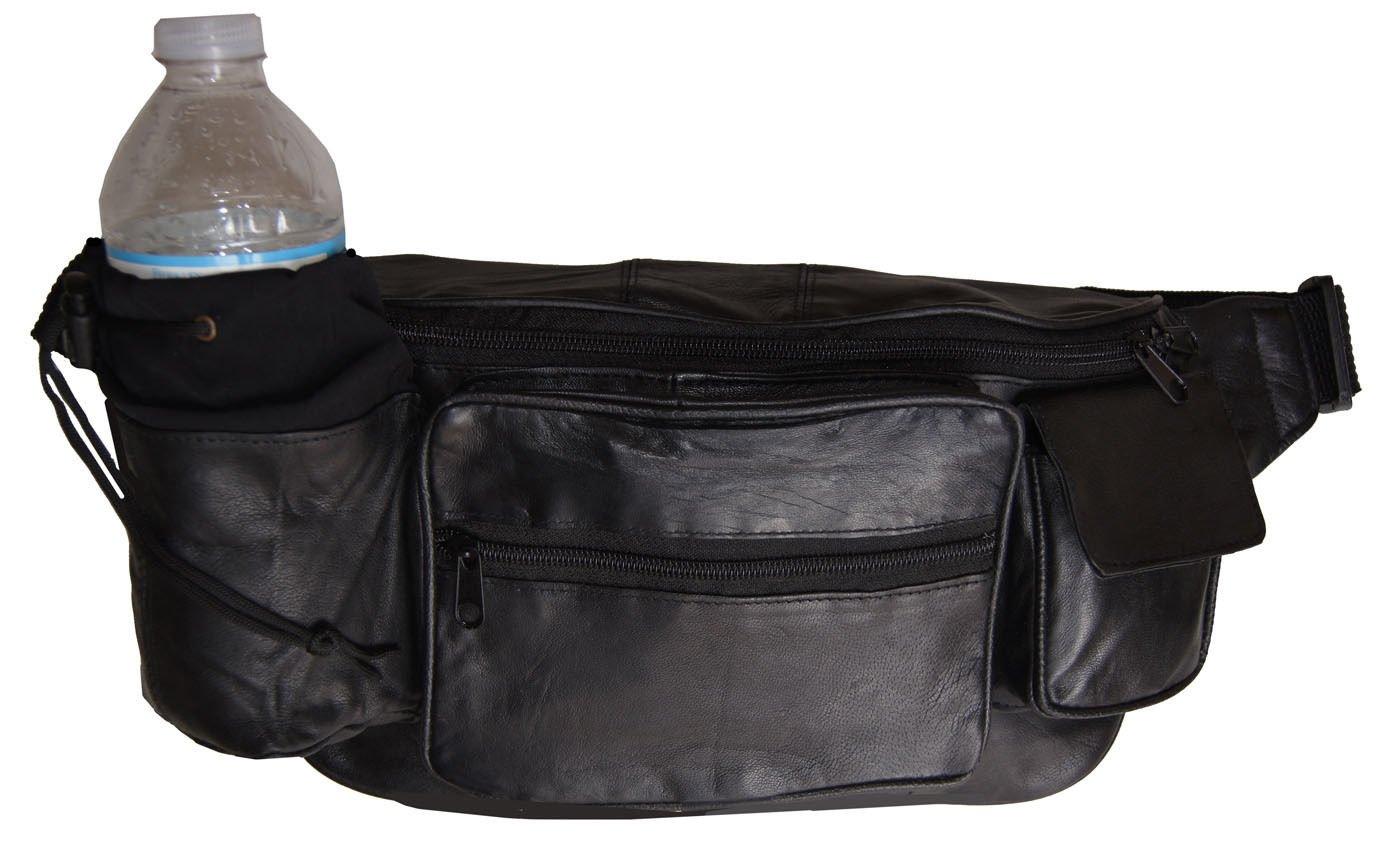Premium Leather Fanny Pack Travel Waist Belt Bag Pouch Hydration Bottle Holder