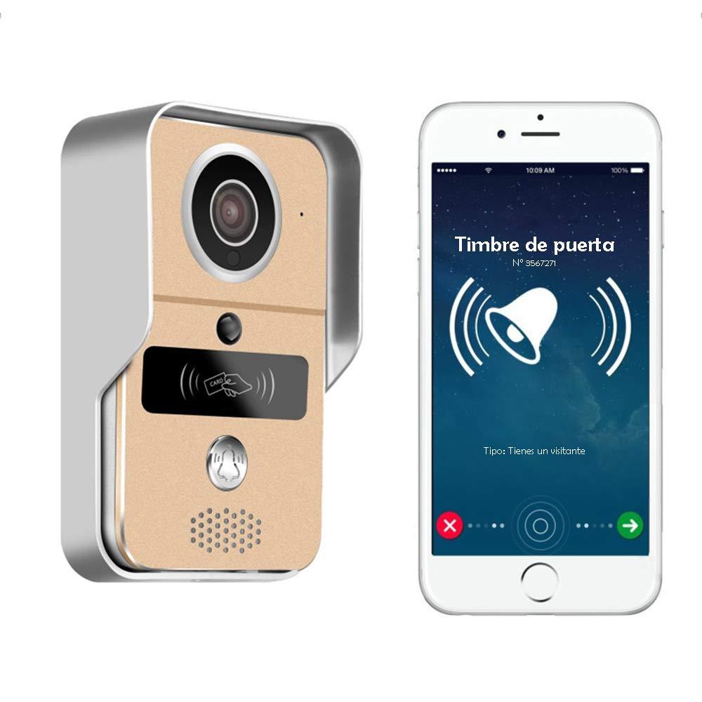 Nudito WIFI Video Türsprechanlagen Set Gegensprechanlage per Telefon gesteuert. Überwachungskamera mit Glockenspiel und Überwachungsfunktion. Regenschutz Außengerät mit Nachtsicht und RFID Karten
