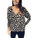 Camisetas de Manga Larga para Mujer,Estampado de Leopardo Blusas para Mujer Verano Camisetas Mujer Camisas Mujer Tops Mujer Blusas y Camisas