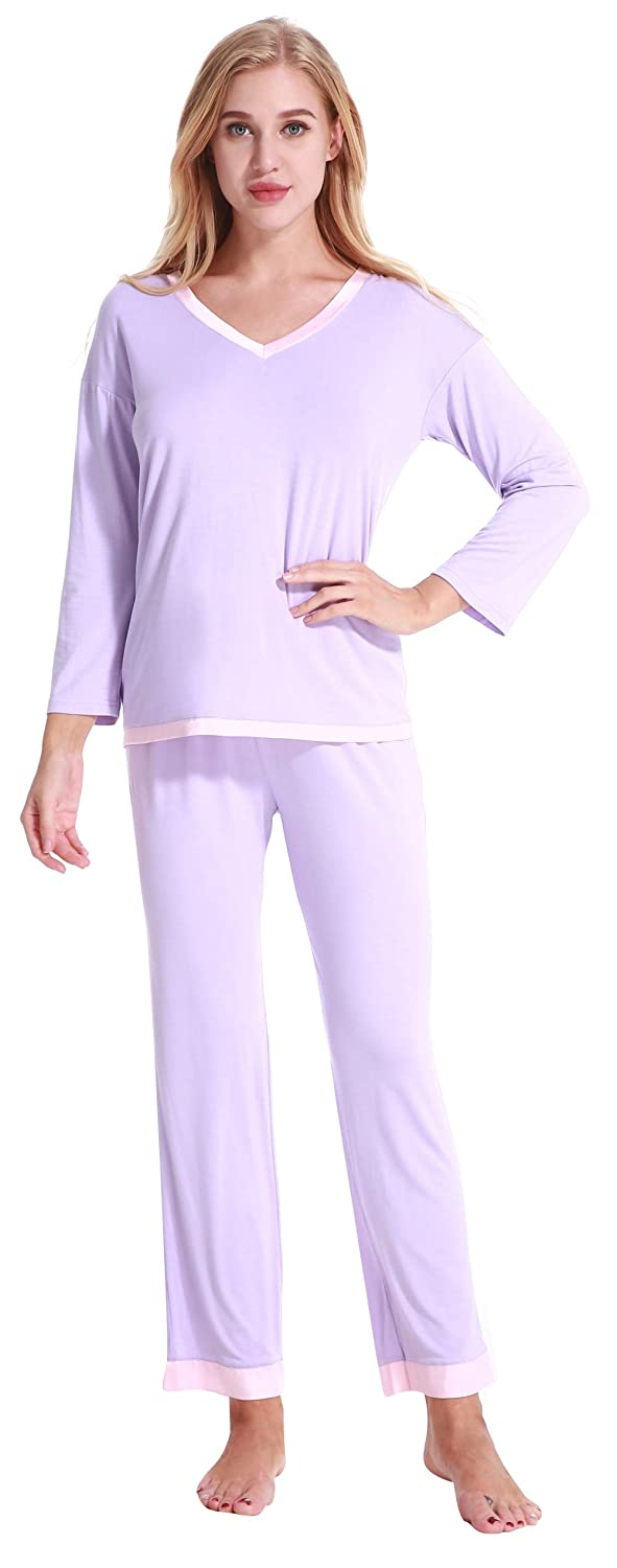 Women's Sleepwear Short Sleeves Pajama Set with Pants Loungewear (XS-XL)