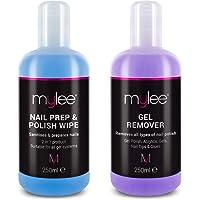 Mylee Toallita Prep & Wipe de Gel Limpiador de Uñas + Acetona Limpiadora y Removedora de Manicura UV LED de 250ml…