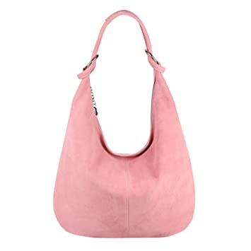 b5585d259f00a OBC Made in Italy Damen XXL Ledertasche Wildleder Shopper Schultertasche  Umhängetasche Hobo-Bag Beuteltasche (
