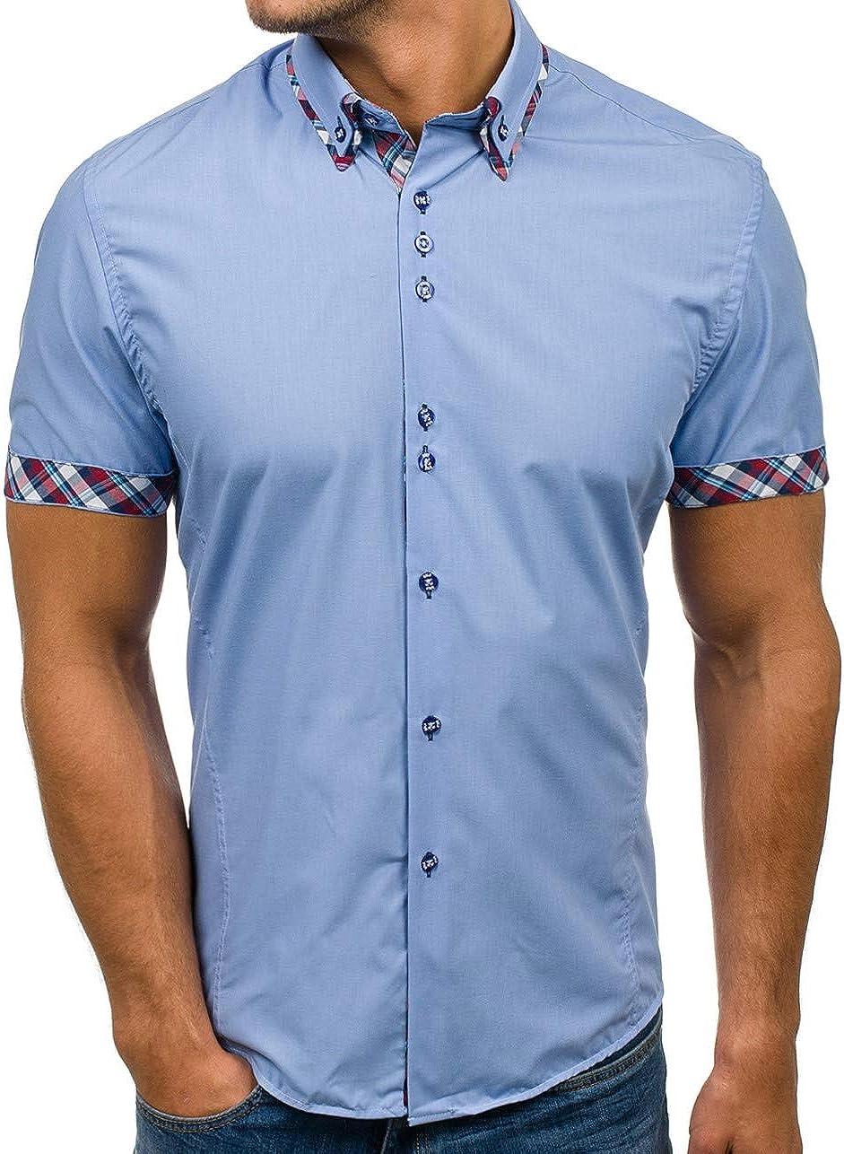 Casual Style BOLF Camicia Elegante da Uomo Mix 2B2 A Manica Corta Slim Fit