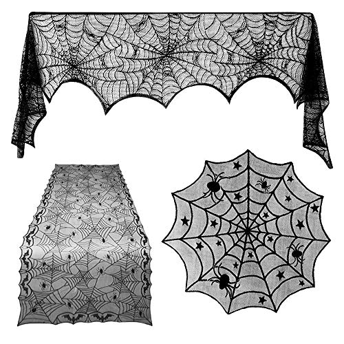 TUPARKA 3 Pcs Halloween Decorations Set, Spiderweb Rectangular Spooky Bat Lace Tablecloth, Spiderweb Round Lace Table Cover and Fireplace Scarf Cover for Halloween Party -