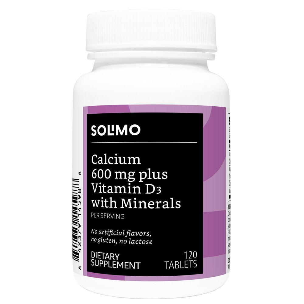 Amazon Brand - Solimo Calcium 600mg plus Vitamin D3 40mcg (1600 IU) with Minerals, 120 Tablets, Two Month Supply