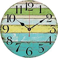 Grazing 12 Vintage Blue Green Yellow Colorful Stripe Design Rustic Country Tuscan Style Wooden Decorative Round Wall Clock (Ocean) (Green)