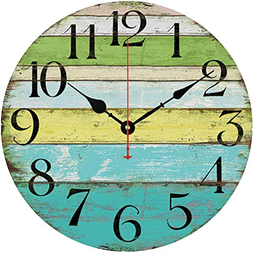 "Grazing 12"" Vintage Blue Green Yellow Colorful Stripe Design Rustic Country Tuscan Style Wooden Decorative Round Wall Clock (Ocean) (Green)"