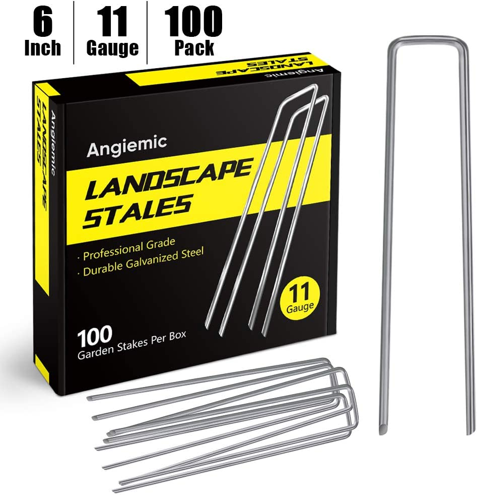Angiemic 100 Pack 6 Inch Galvanized Landscape Staples 11 Gauge Garden Stakes Ground Staples Sturdy Rustproof Landscaping Staples Sod Pins for Anchoring Weed Barrier Landscape Fabric Ground Cover Fence