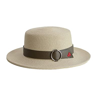 11d576a1d3f Vitality Shop Women s Straw Hat Summer Flat Top Hat Sun Hat Panama Hat  (Beige) at Amazon Women s Clothing store