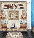 Beshowereb Bath Suit: Showercurtain Bathrug Bathtowel Handtowel Egypt Decor Eastern Heritage Ancient Egyptian Pharaoh Mummy Coffin Portrait Art Print Taupe Redwood