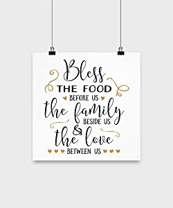 daZenMonk Inspirational Wall Art - Bless This Food Poster - Decor For Home House Kitchen - Motivational Quotes Posters