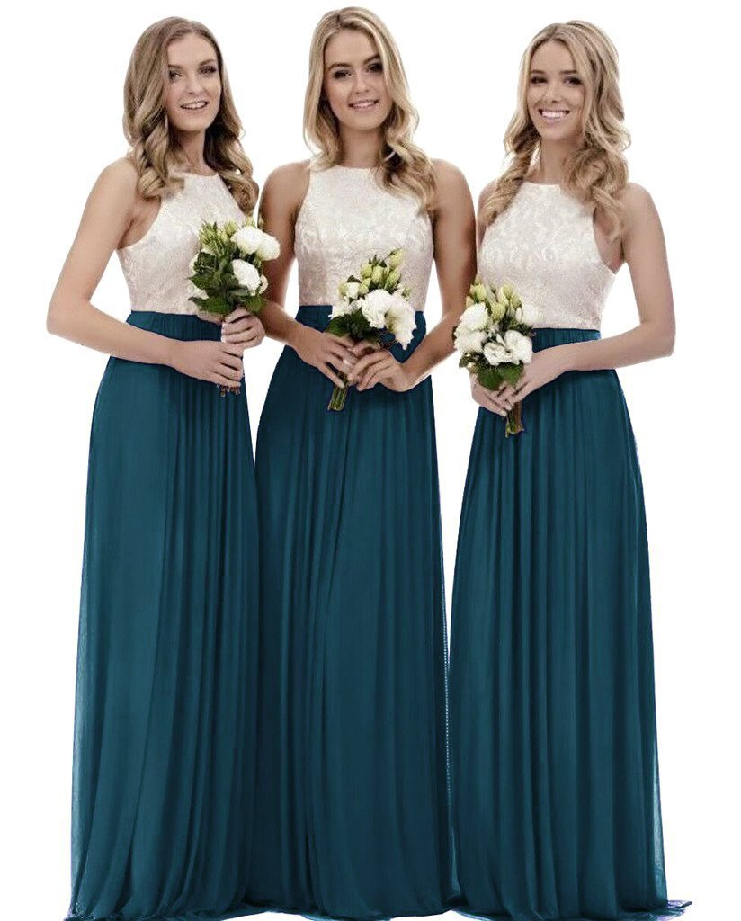 Womens A Line Top Lace Bridesmaid Dress Long Chiffon Wedding Party Gown Teal Size 16