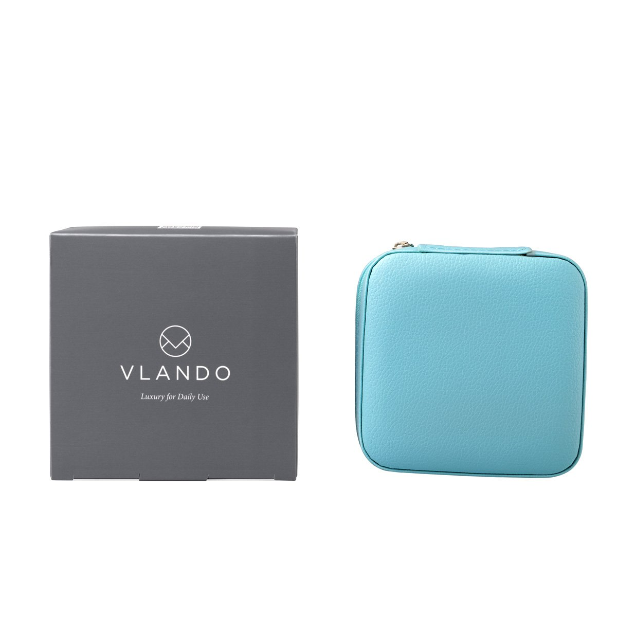 Vlando Small Faux Leather Travel Jewelry Box Organizer Display Storage Case for Rings Earrings Necklace (Blue) by Vlando (Image #7)