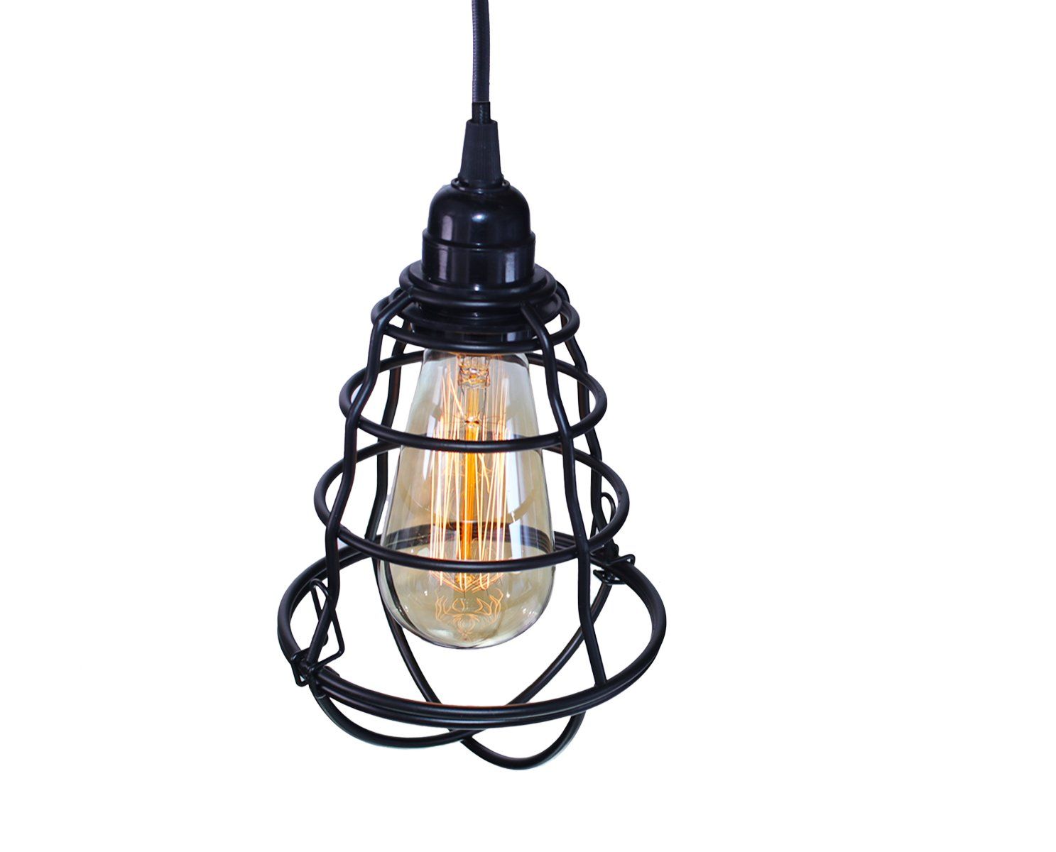 INNOCCY Vintage Edison Hanging Caged Industrial Pendant Light, E26/E27 Mini Pendant Light Vintage Metal Pendant Light Fixture Home Kitchen Pendant Lamp. by INNOCCY