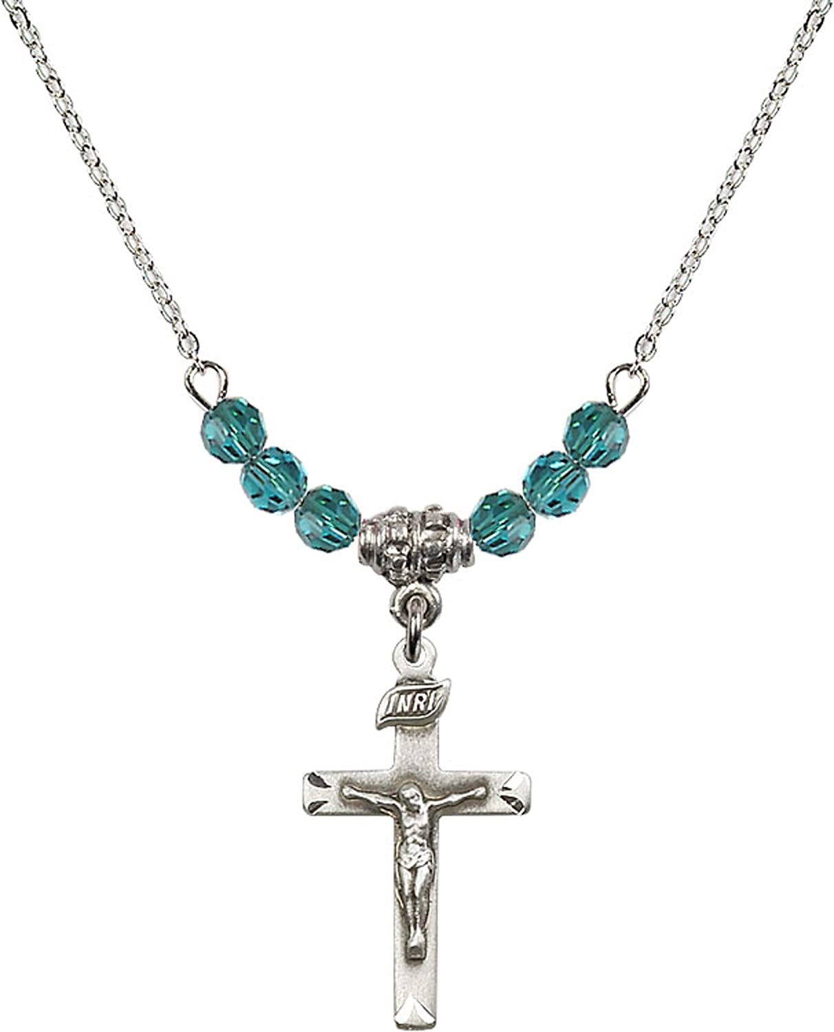 Bonyak Jewelry 18 Inch Rhodium Plated Necklace w// 4mm Blue December Birth Month Stone Beads and Crucifix Charm
